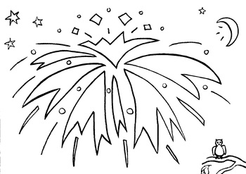 Fireworks Colouring Sheet