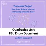Fireworks Show Entry Doc for Algebra I or II (Quadratics P