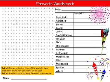 Fireworks Wordsearch Sheet Starter Activity Keywords New Year Thanksgiving
