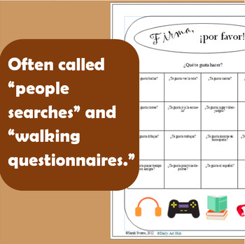 Spanish Communicative Activities!  35 People Search, Walking Questionnaires