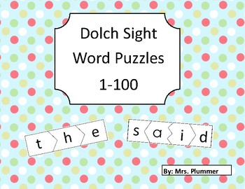 First 100 Dolch High Frequency Words