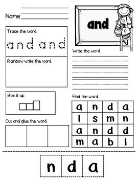 Sight Word No Prep Bundle (Pre-Primer and Primer)