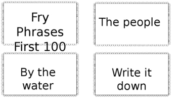 First 100 Fry Phrases - Practice Cards