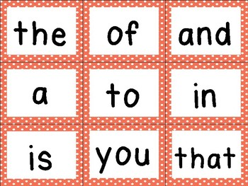 First 100 Fry Sight Word Cards