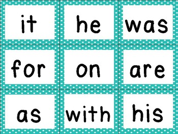 First 100 Fry Sight Word Cards  (Teal & Polka Dots) Click & Cut!