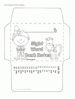 First 100 Fry Sight Word Envelopes & Bank Notes