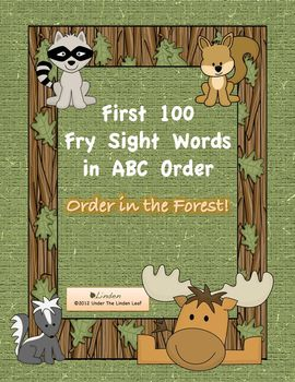 First 100 Fry Sight Words ABC Order - Order in the Forest!