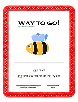 Fry Sight Words Book - First 100 Words