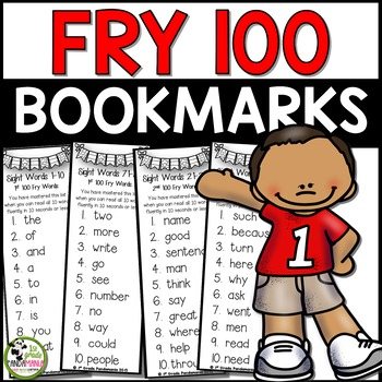 Fry Sight Words Mastery Bookmarks for First 100 Fry Words