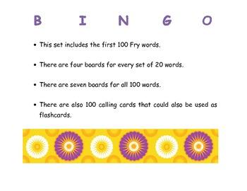 First 100 Fry Word BINGO