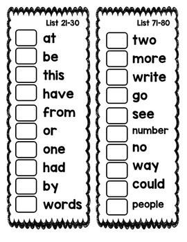 First 100 Fry Word Checklist Booklet