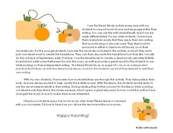 Freebie Halloween Dead Words Writing Activity