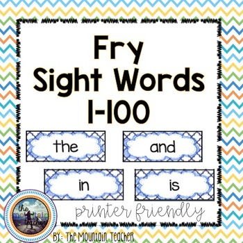 First 100 Fry Word Rings/Word Wall Words/Flash Cards (1-100)