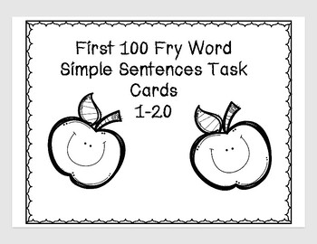First 100 Fry Word Task Cards 1-20