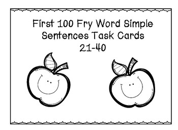 First 100 Fry Word Task Cards 21-40