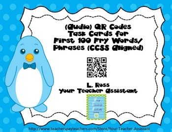 Fry Words Task Cards QR Codes (First 100)