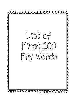 First 100 Fry Words- Kindergarten Challenge
