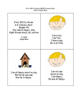 First 100 Fry Words Mini Book Reader Pack ABCDE