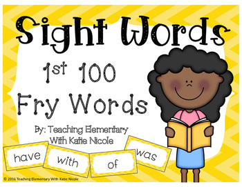 1st 100 Sight Words Cards