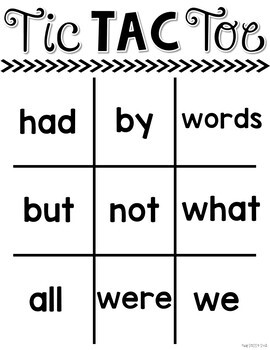 First 100 Fry Words: Tic Tac Toe Boards