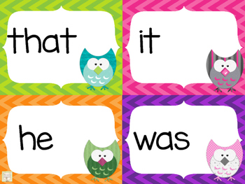 Set 1 of 100 High Frequency Sight Words: Chevron Owl Word Cards