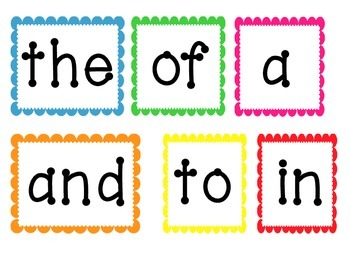 First 100 High Frequency Words- Word Wall Cards