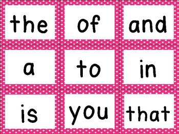 First 100 Sight Word Cards [Pinks & Polka dots]