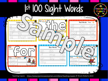 First 100 Sight Word Playdoh Mats
