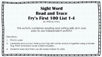 First 100 Sight Word Read and Trace