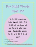 First 100 Sight Words - Broken into 8