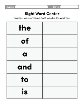 First 100 Sight Words Chart 1