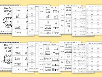 Kindergarten 1st Grade SIGHT WORDS Practice Packets High Frequency Words