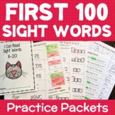 Kindergarten 1st Grade SIGHT WORDS Practice Packets 100 Words