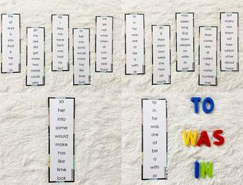 First 100 Sight Words Strips, Sight Words List, Sight Word Reading Practice Card