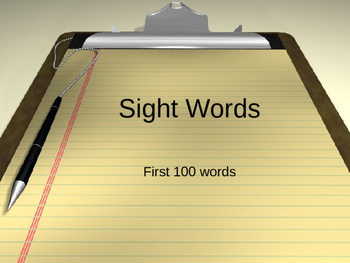 First Set of 100 Sight Words on Power Point