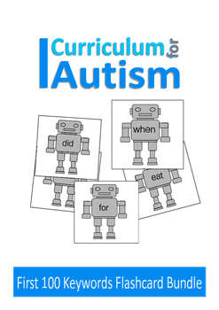 Sight Words 100 Flash Cards Robot Theme, Autism, Special Education