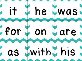 First 100 sight words [Teal/Chevron]