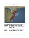 """First 13 colonies- Inquiry lesson """"Why do People move?"""""""