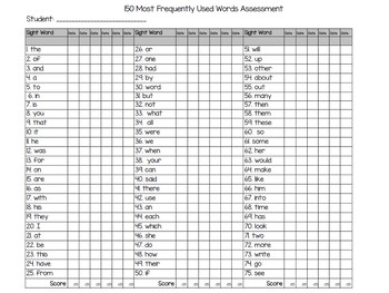 First 150 Fry Word Assessment