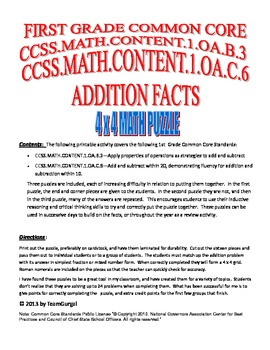 First (1st) Grade Common Core - Numbers & Operations- Addition Facts Puzzle Pack