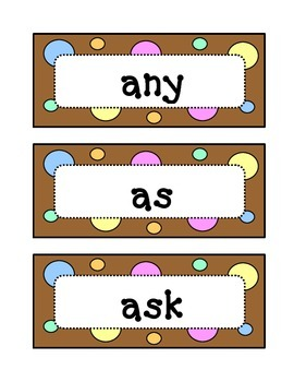 First 1st Grade Dolch Sight Word Wall - Dots & Pastel, Chocolate Brown Theme