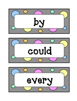 First 1st Grade: Dolch Sight Word Wall - Dots & Pastel, Grey Theme
