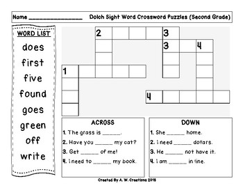 Second (2nd Grade) Dolch Sight Words Crossword Puzzle