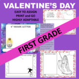 First 1st Grade GOOGLE Valentine's Day Writing Activity Templates
