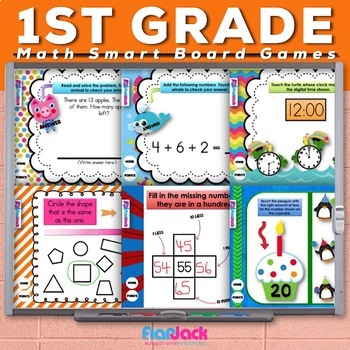 First 1st Grade Math Smart Board Game Bundle