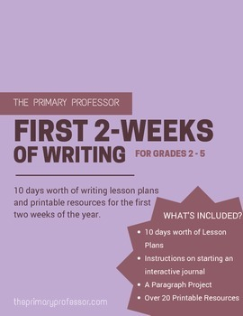 First 2-Weeks of Writing Lesson Plans for Grades 2 - 5