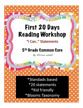 """First 20 Days of 5th Grade """"I Can"""" Reading Statements"""