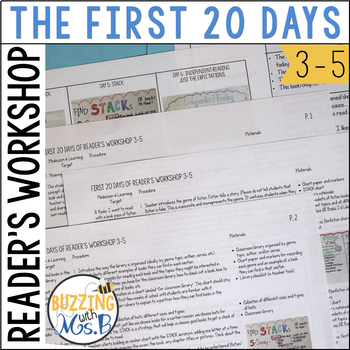 Reading Workshop First 20 Days Worksheets Teaching