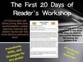 First 20 Days of Reader's Workshop/Reading Workshop Mini Lessons for Grades K-6