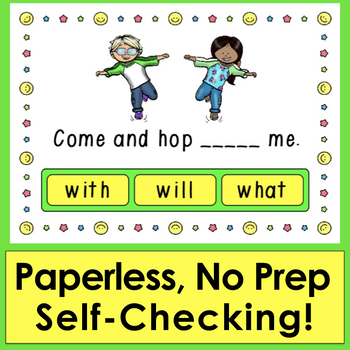 Boom Cards™ Sight Words Sentences First 20 Dolch  - 20 Interactive Self-Checking